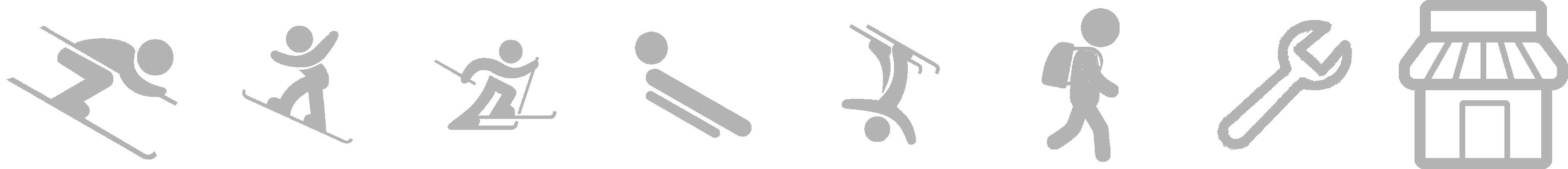 Symbole Ski- und Snowboardverleih